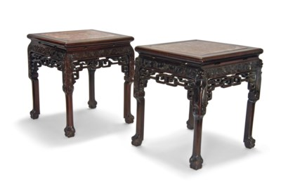 A PAIR OF MARBLE-INSET WOOD ST