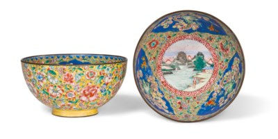 A PAIR OF PAINTED ENAMEL 'DRAG
