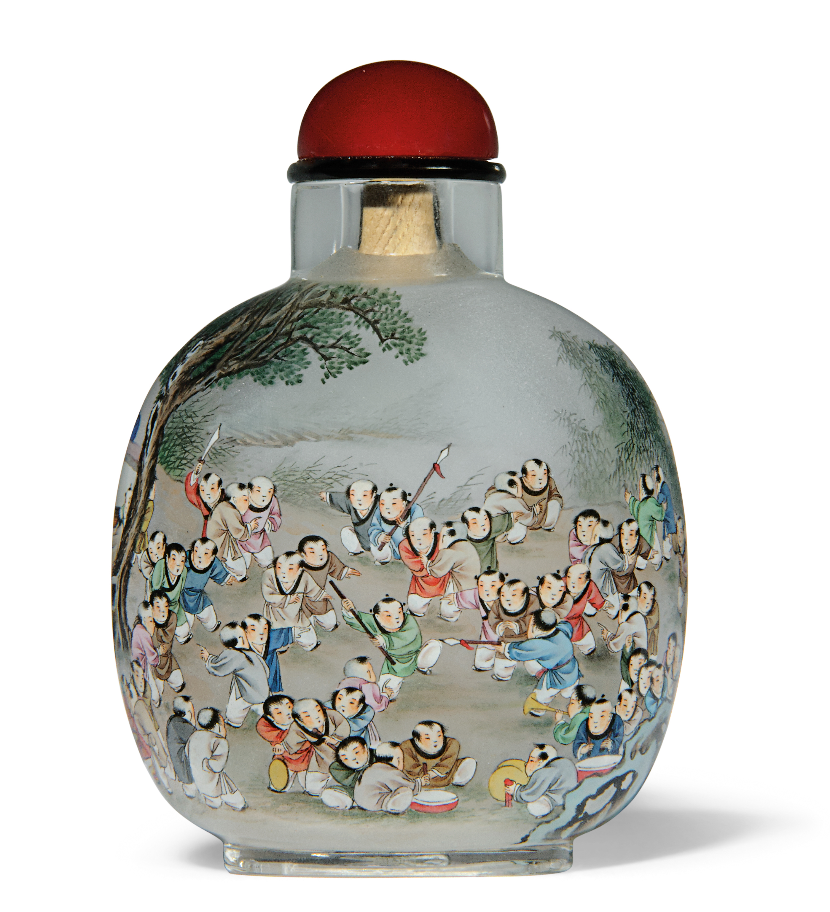 A 'HUNDRED BOYS' INSIDE-PAINTED GLASS SNUFF BOTTLE AND A 'COWHERD' INSIDE-PAINTED AGATE SNUFF BOTTLE