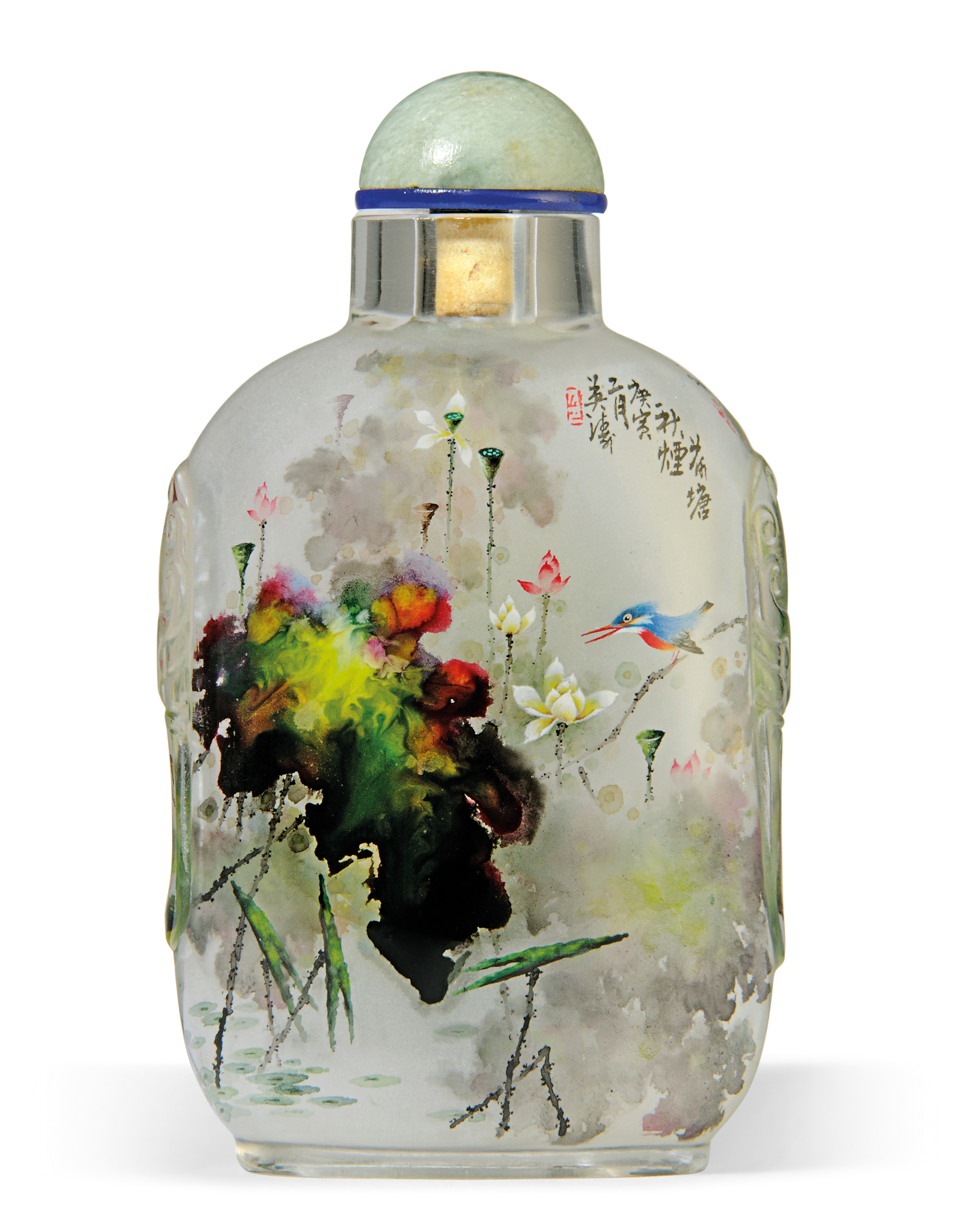 AN INSIDE-PAINTED GLASS 'LOTUS
