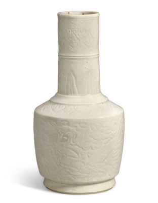 A SMALL WHITE-GLAZED CARVED VA