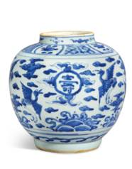 A BLUE AND WHITE 'CRANES' JAR