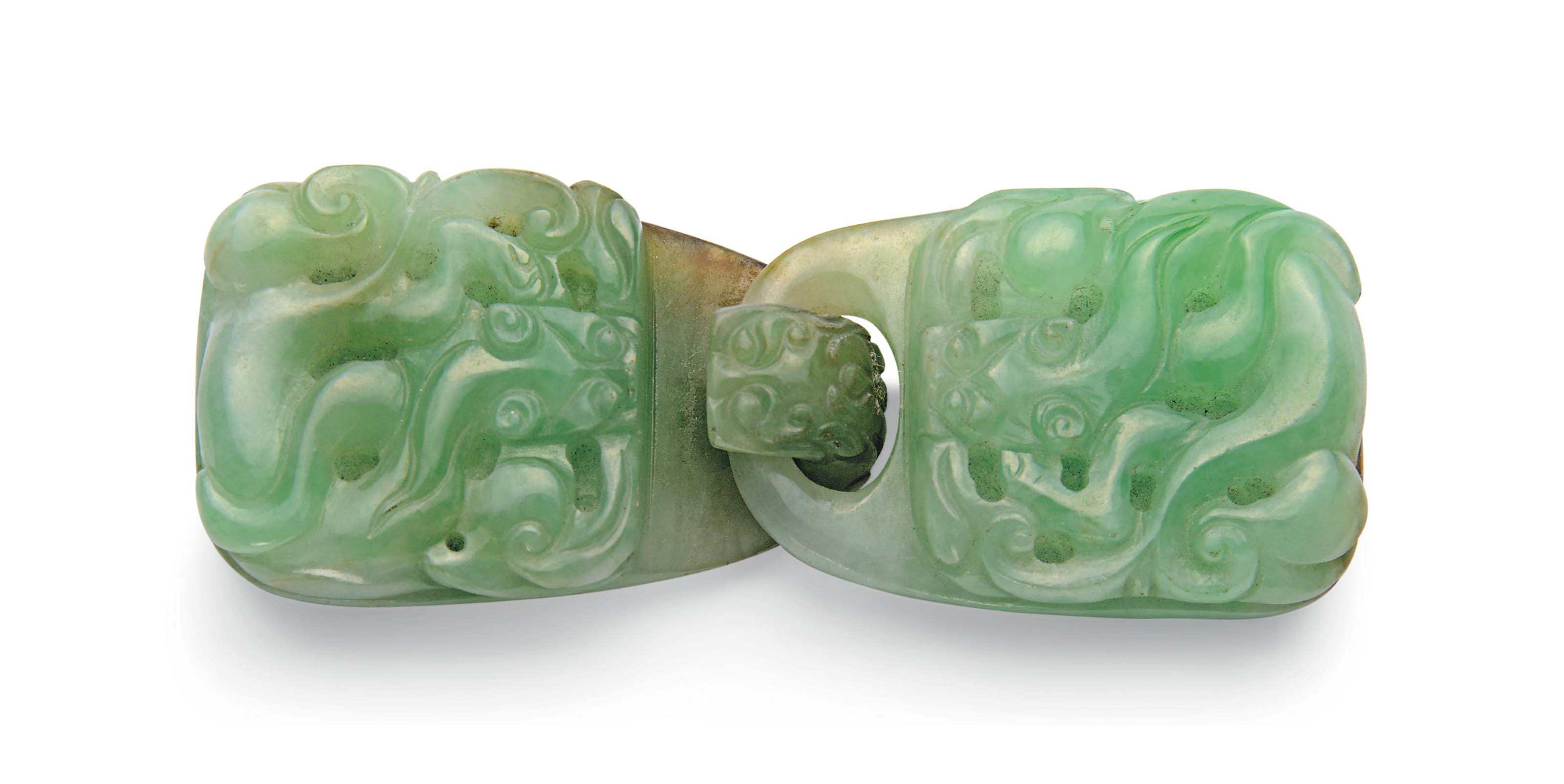 A PALE GREEN JADEITE TWO-PART