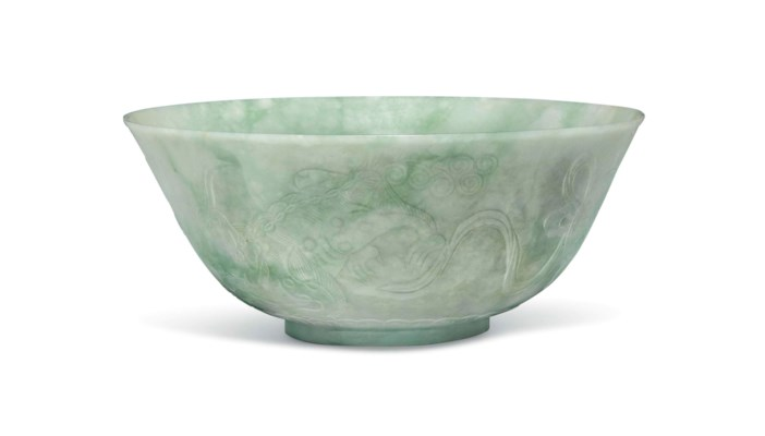 A PALE APPLE-GREEN JADEITE BOW
