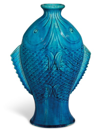 A TURQUOISE-GLAZED 'TWIN-FISH'