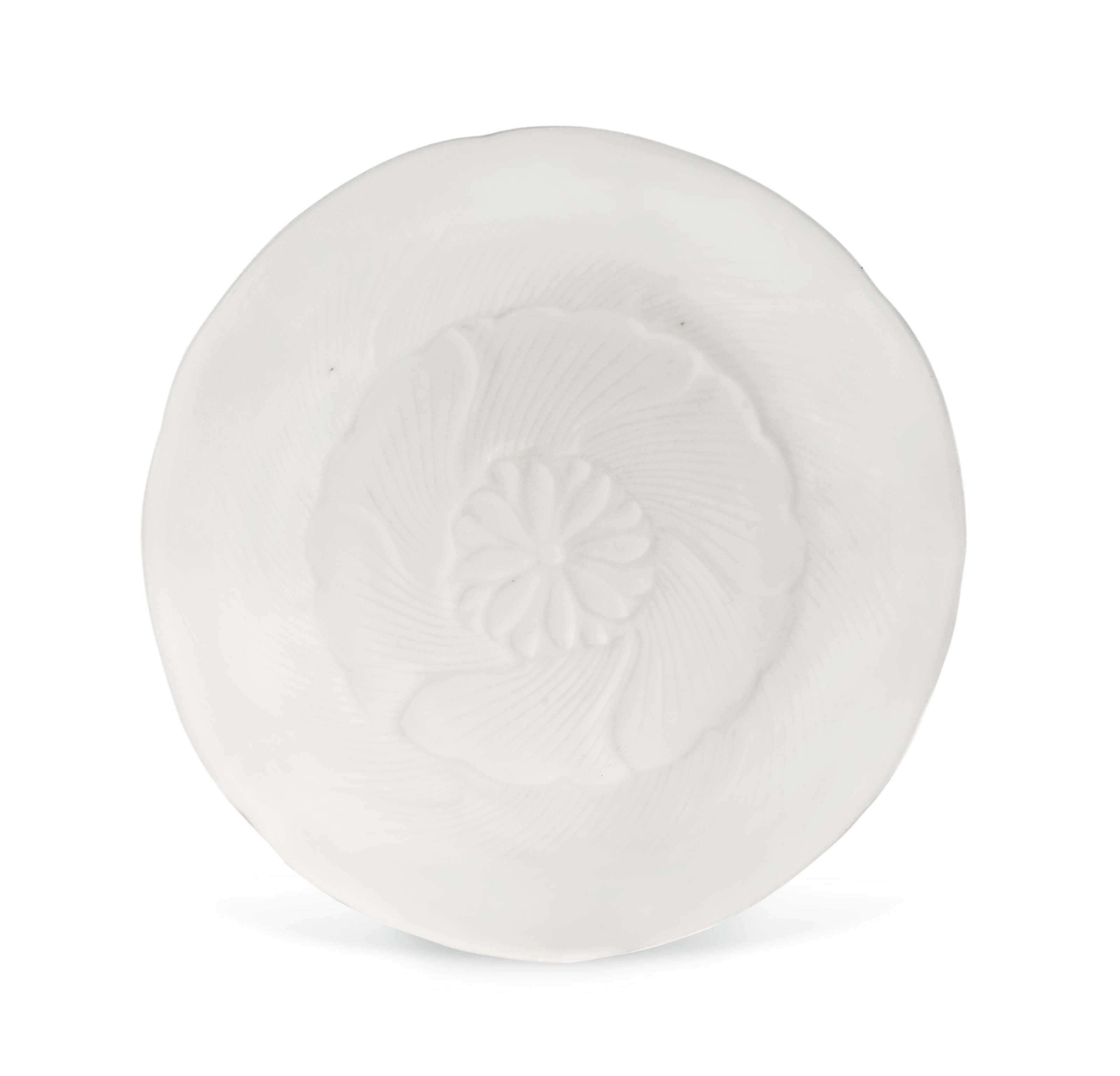 A SMALL WHITE-GLAZED MOULDED D