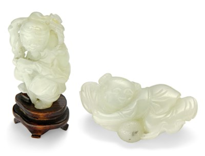 A WHITE JADE FIGURE OF LI TIEG