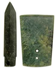 TWO MOTTLED JADE CEREMONIAL BL