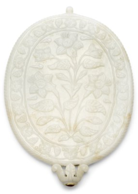 A MUGHAL-STYLE WHITE JADE OVAL