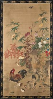 FLOWERS AND ROOSTER