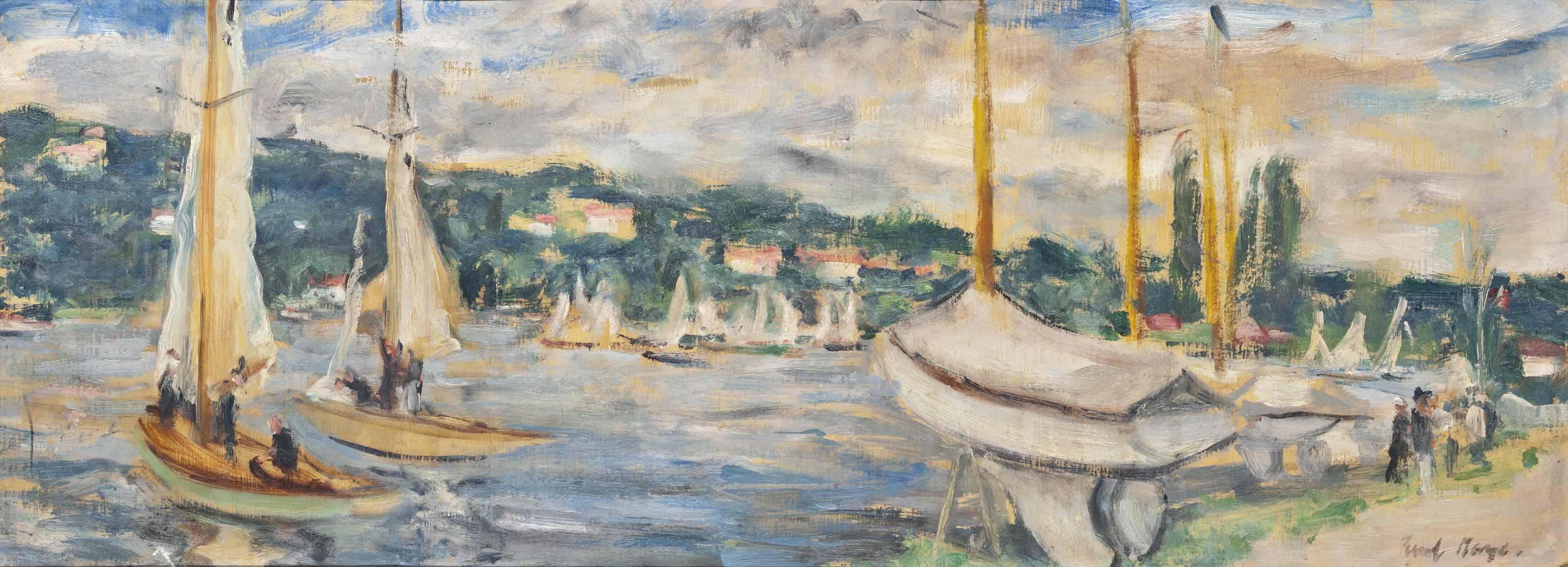 Bateaux à voiles sur rivière