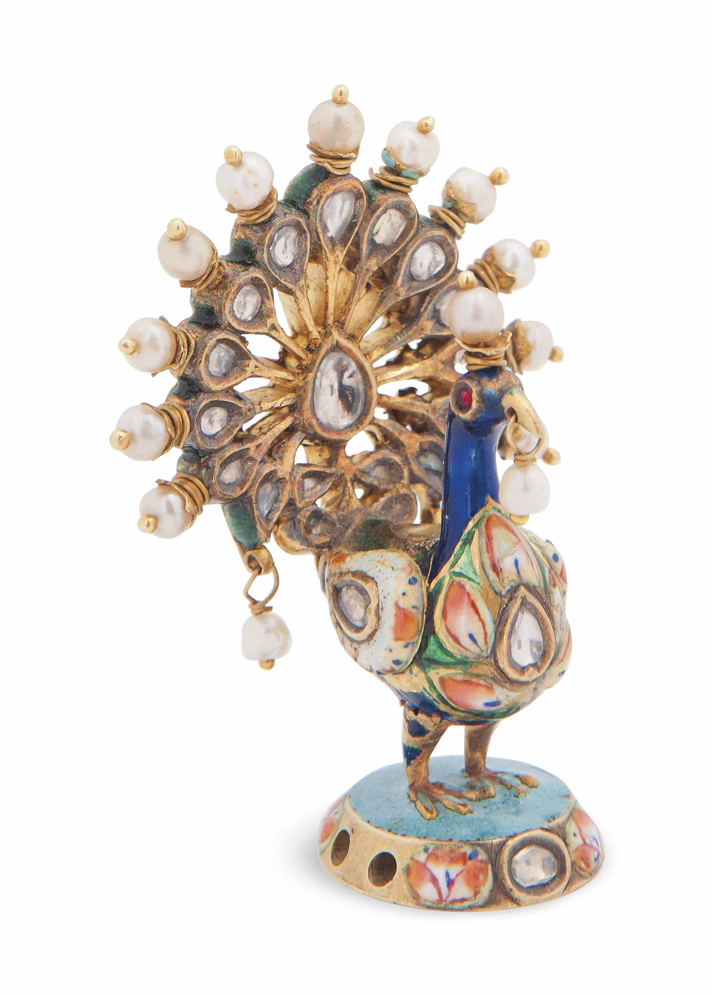 A PEARL AND GEMSET ENAMELLED G