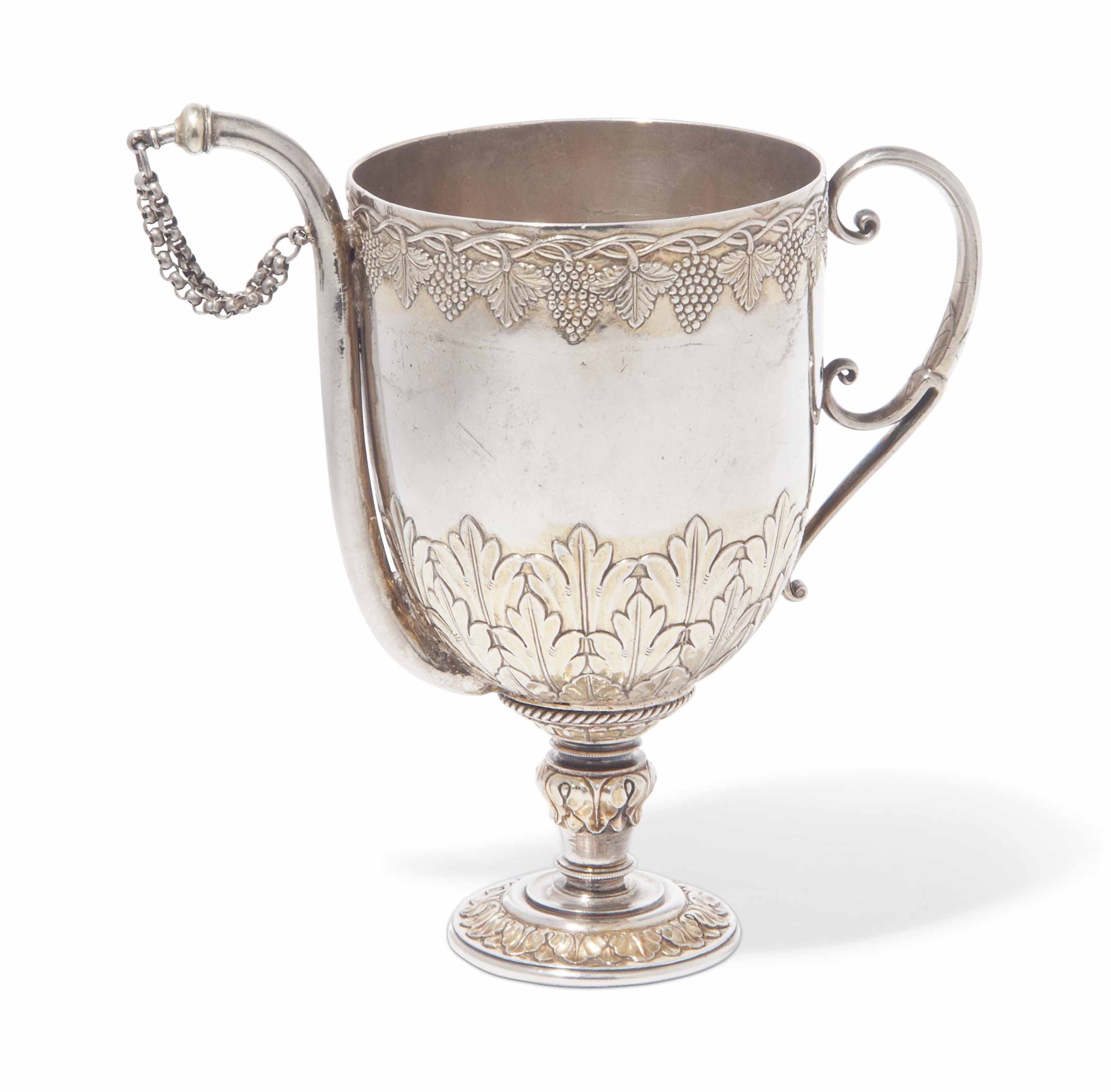A PARCEL-GILT SILVER FOOTED CUP