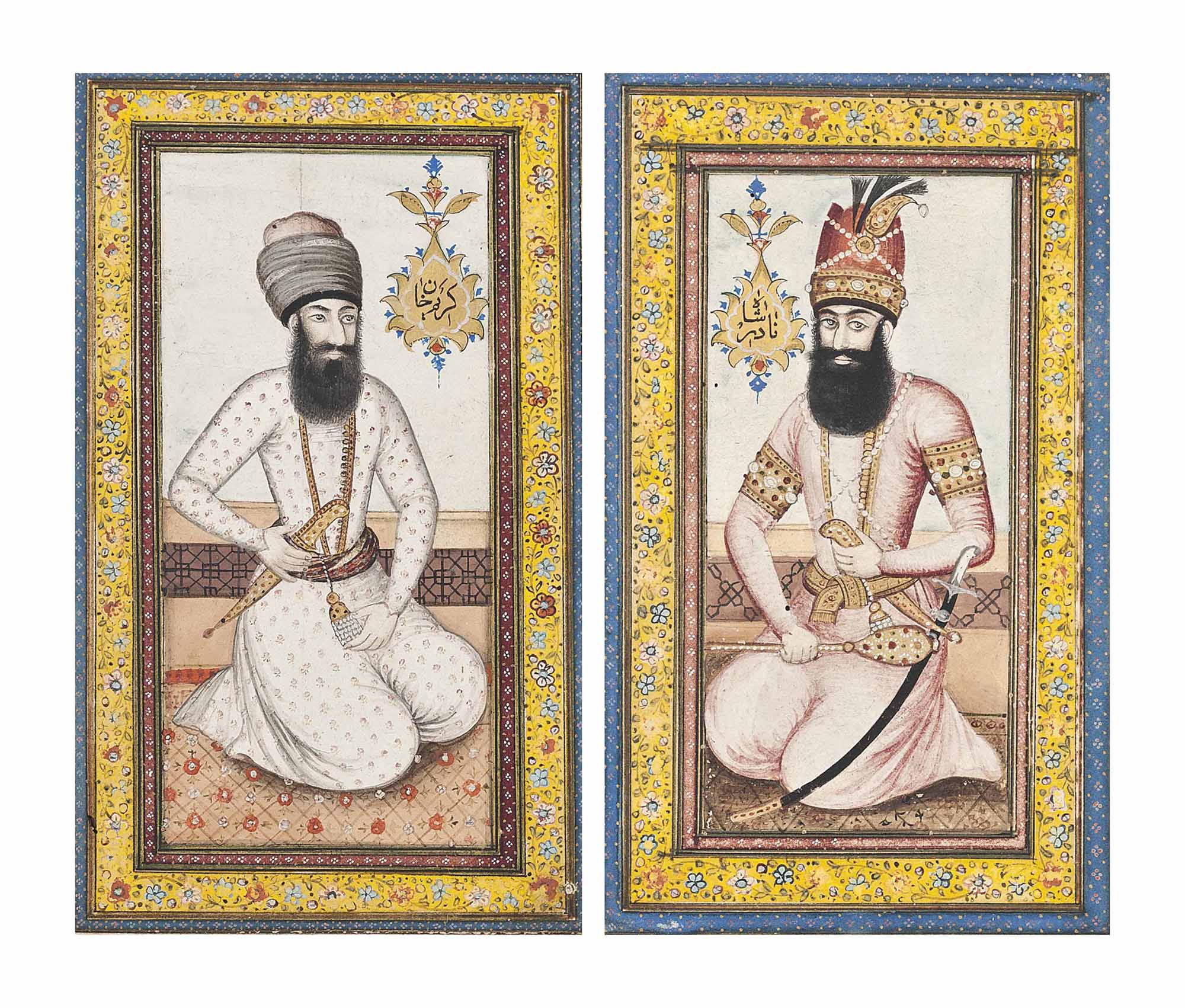 TWO PORTRAITS OF NADIR SHAH AN