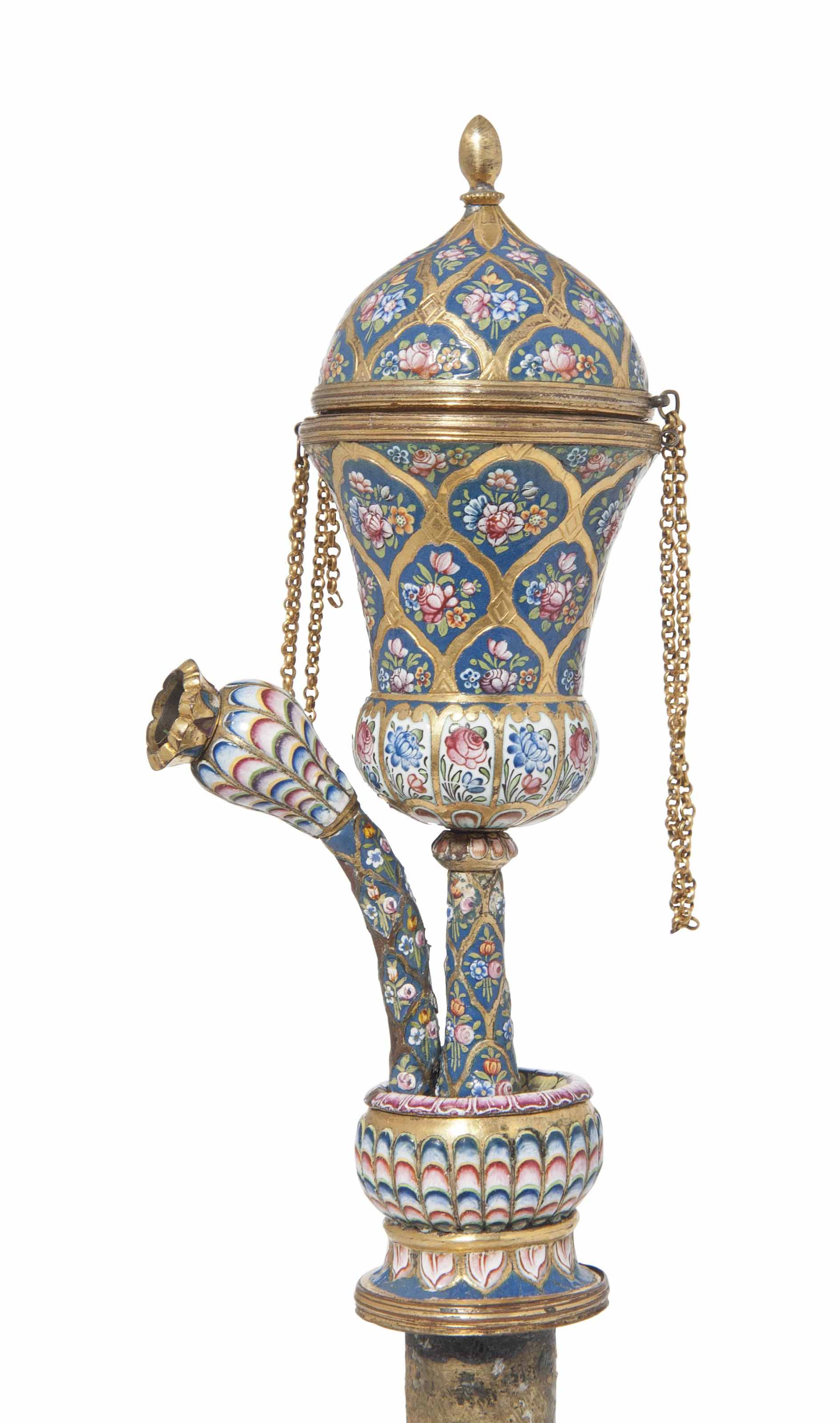 A GOLD AND ENAMEL QALYAN FURNACE AND STEM