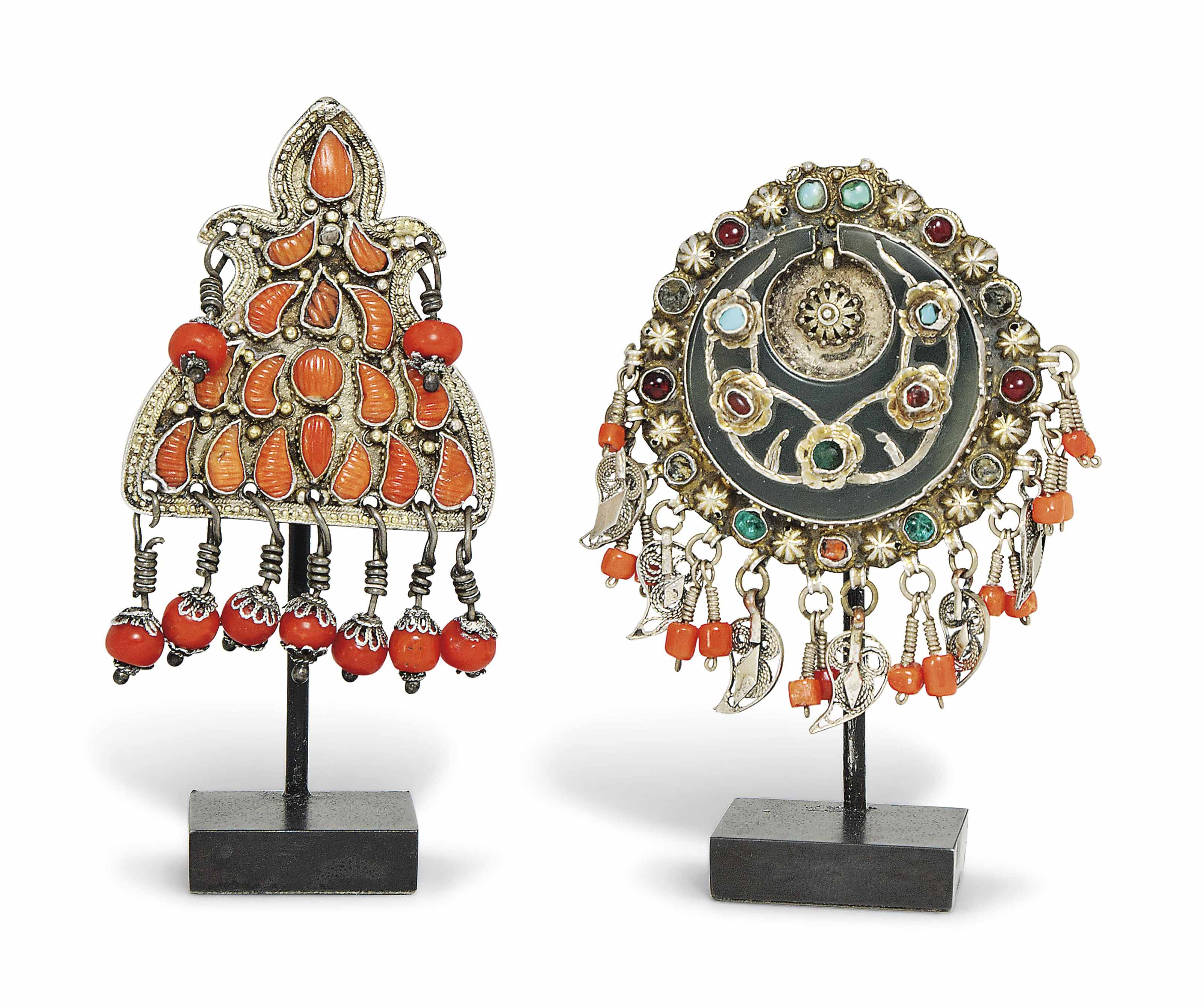 TWO HARDSTONE AND CORAL-INSET