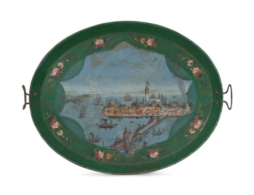 A LARGE OTTOMAN PAINTED TRAY