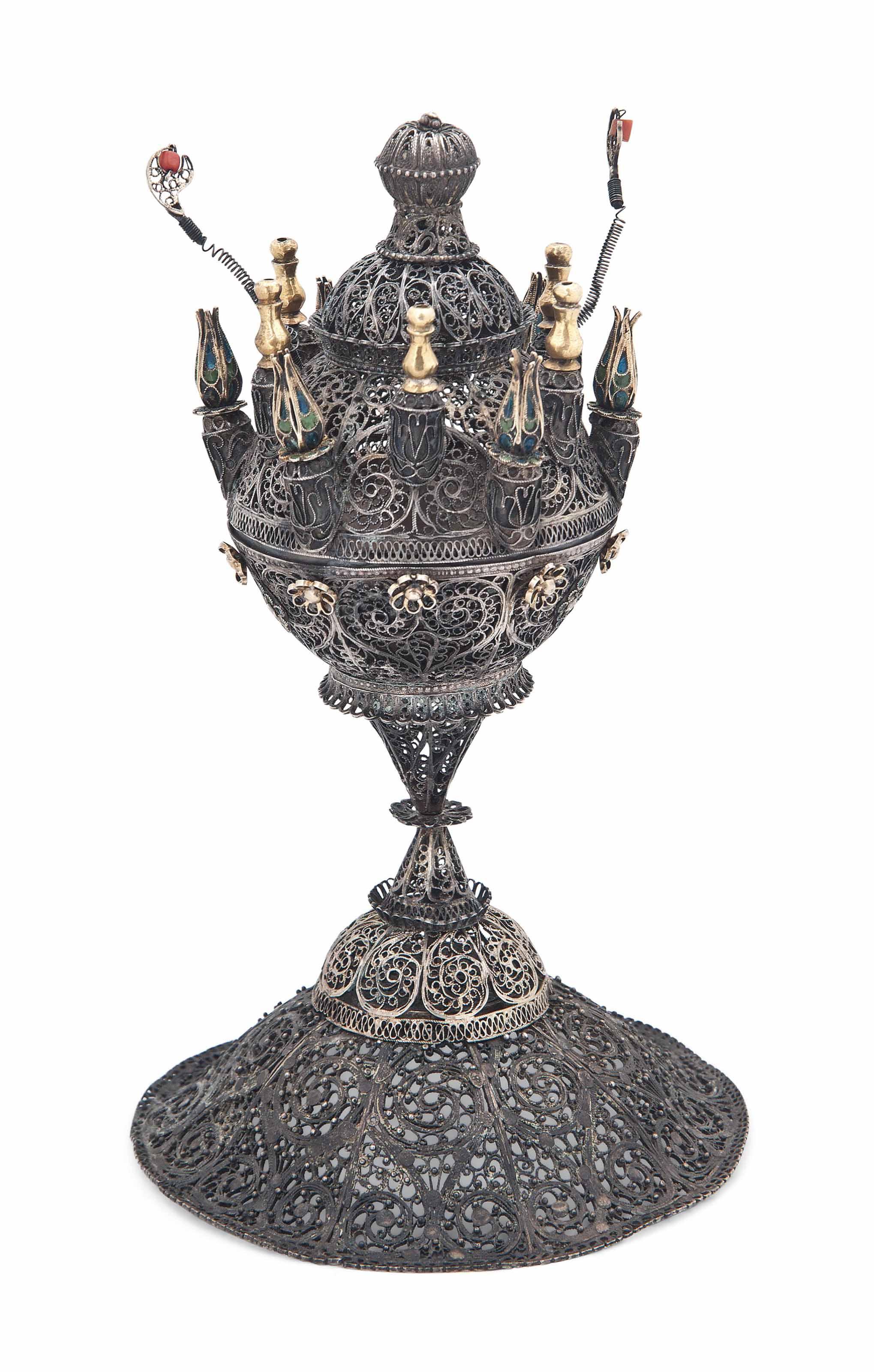A FINE ARMENIAN PARCEL-GILT ENAMELLED SILVER FILIGREE CENSER