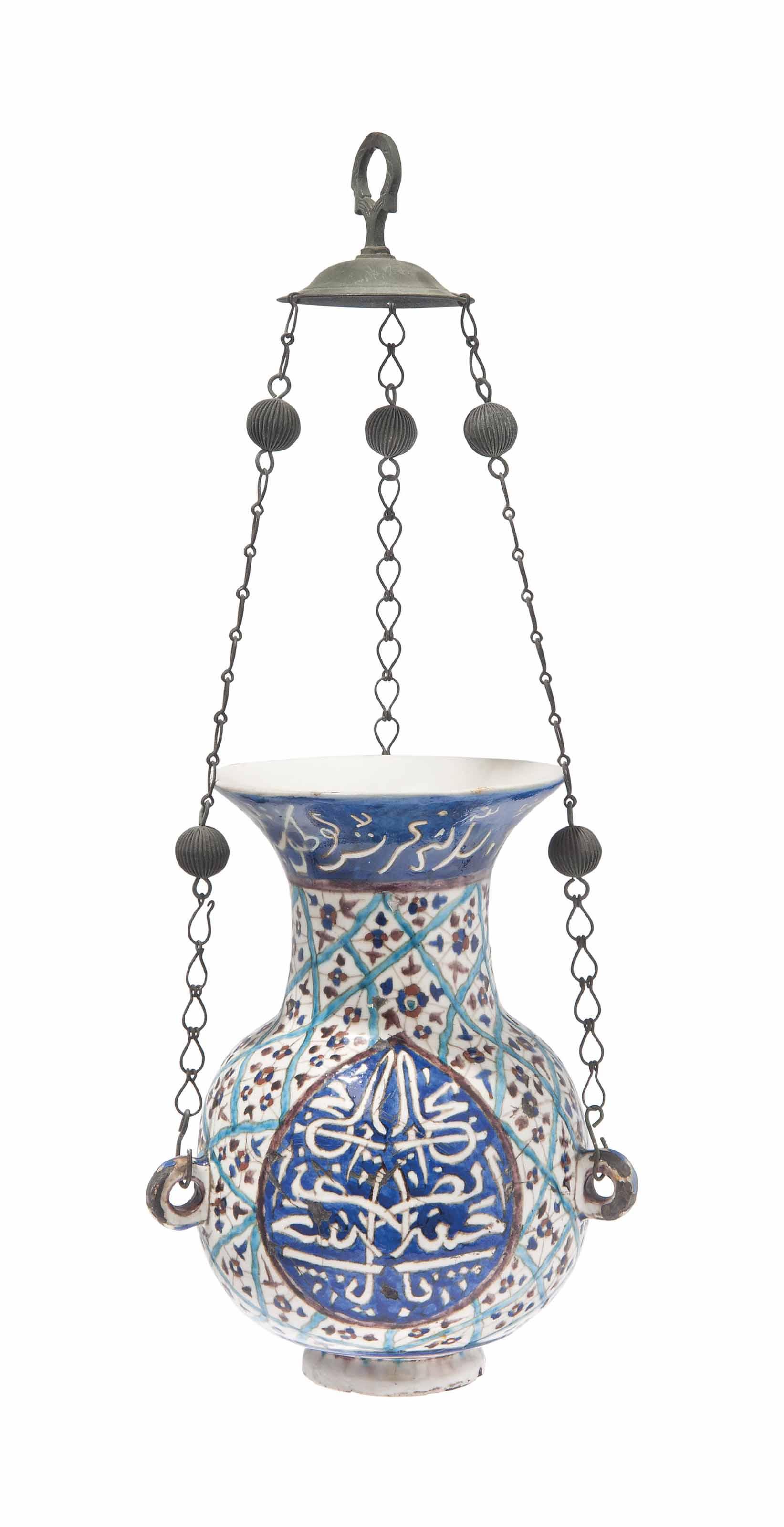 A KUTAHYA POTTERY MOSQUE LAMP