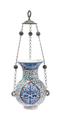 A KUTAHYA POTTERY MOSQUE LAMP