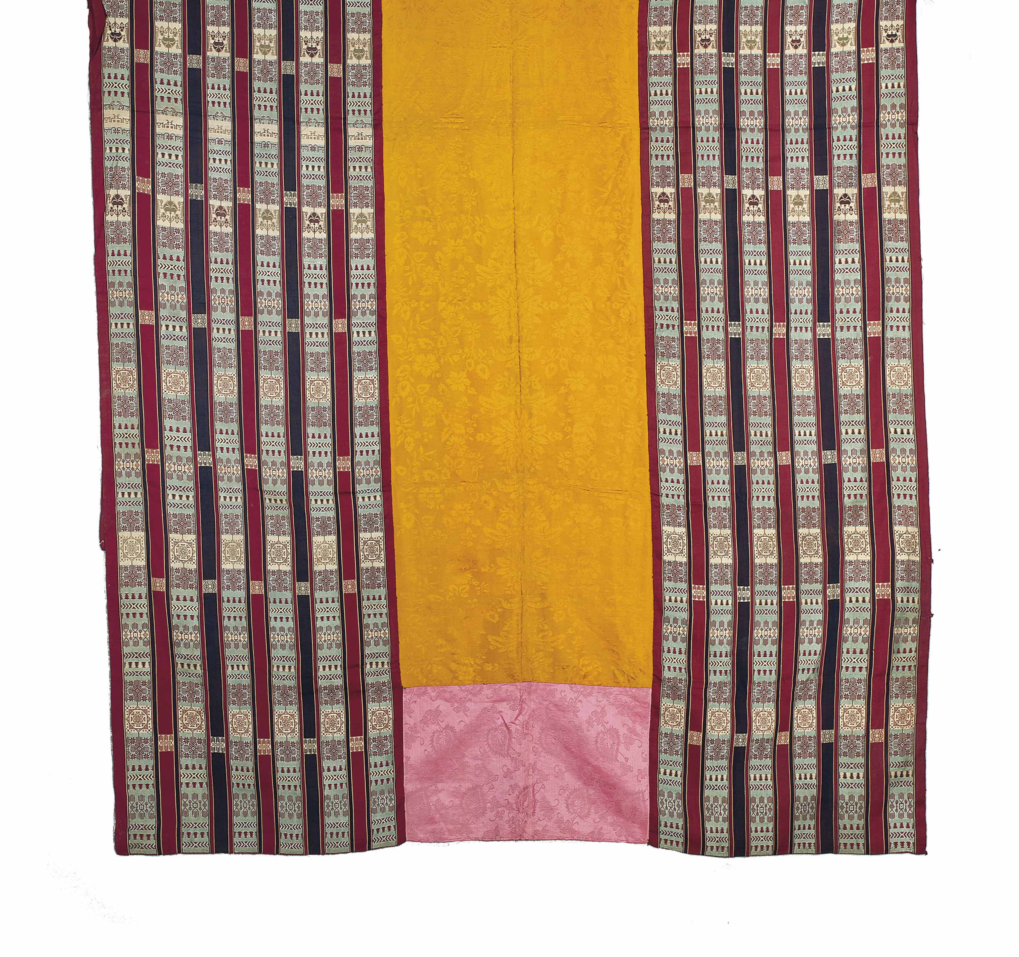 A LARGE SILK AND COTTON WOVEN