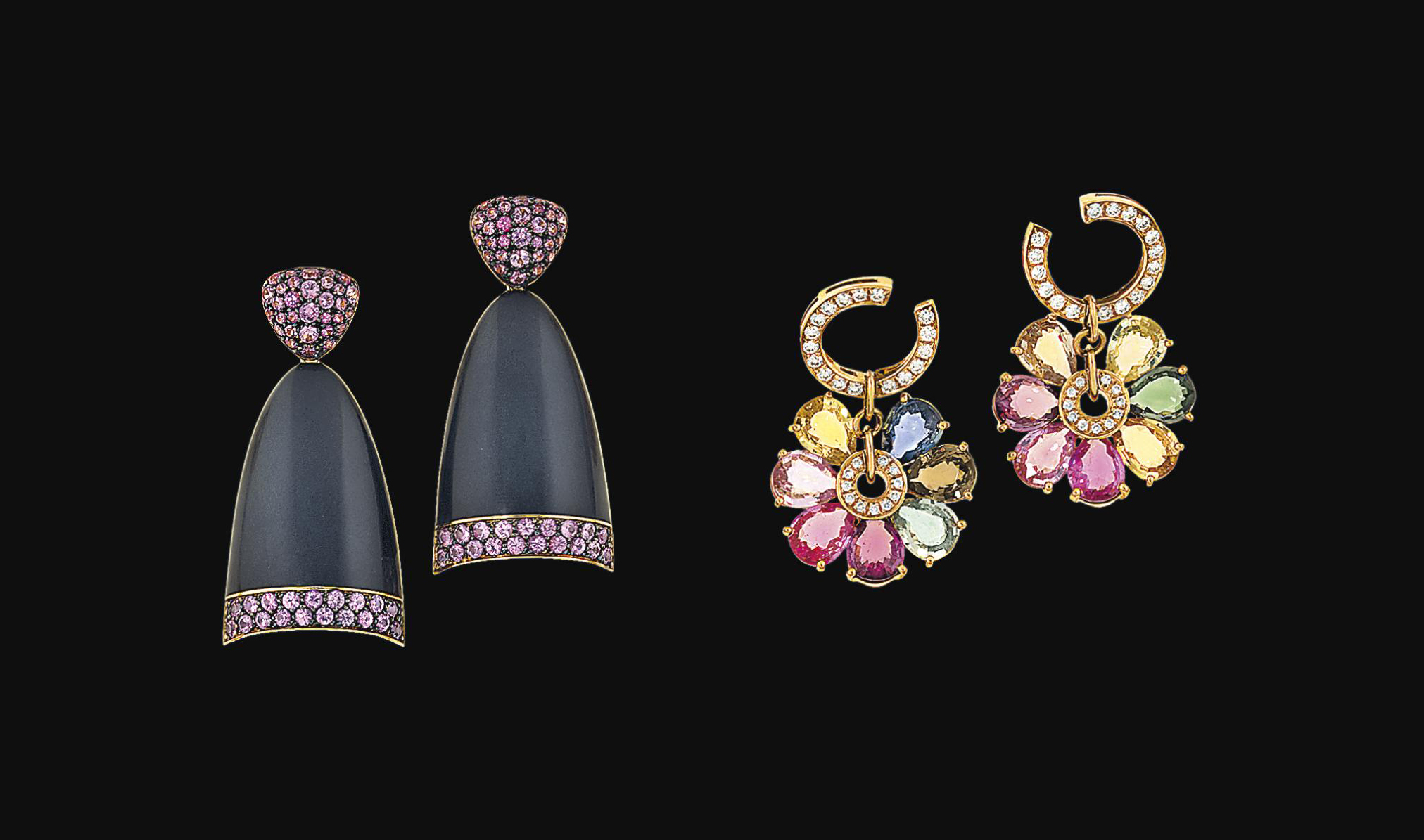 Two pairs of gem-set earrings,