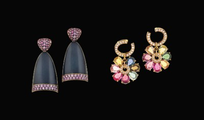 Two pairs of gem-set earrings,