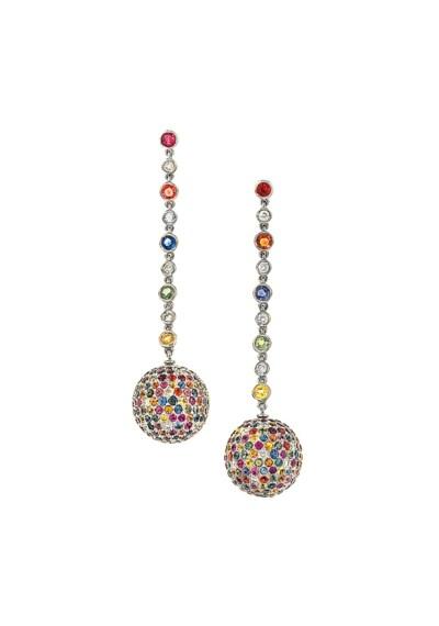 A pair of multi-coloured sapph