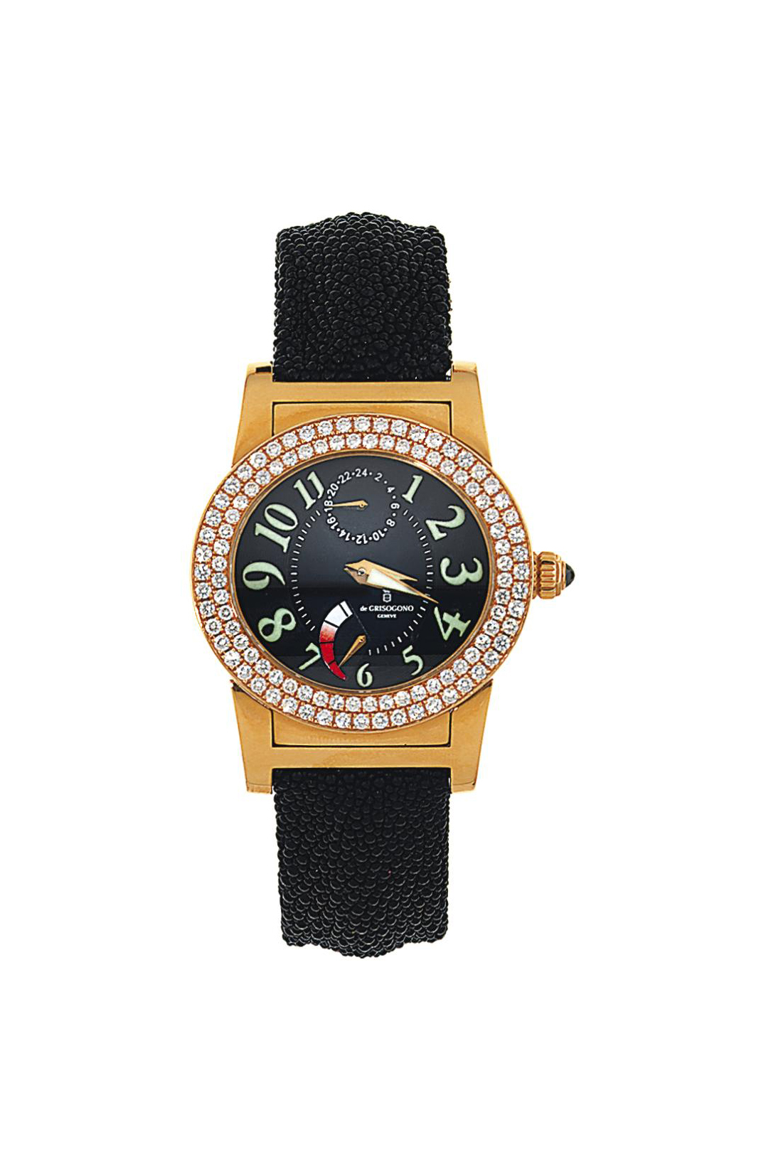 An 18ct pink gold dual time 'I