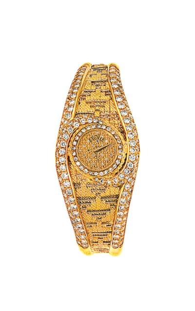 An 18ct gold diamond-set quart