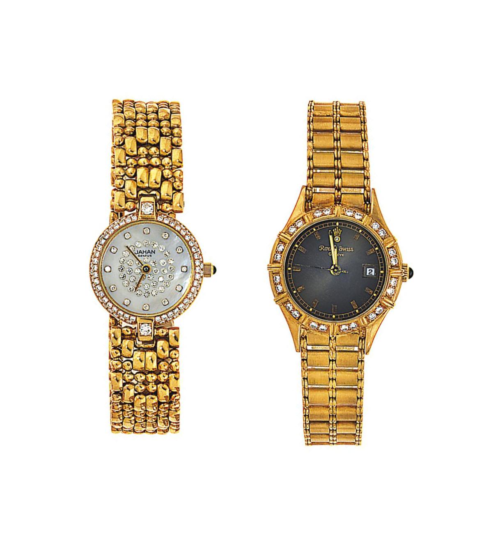 Three 18ct gold diamond-set qu