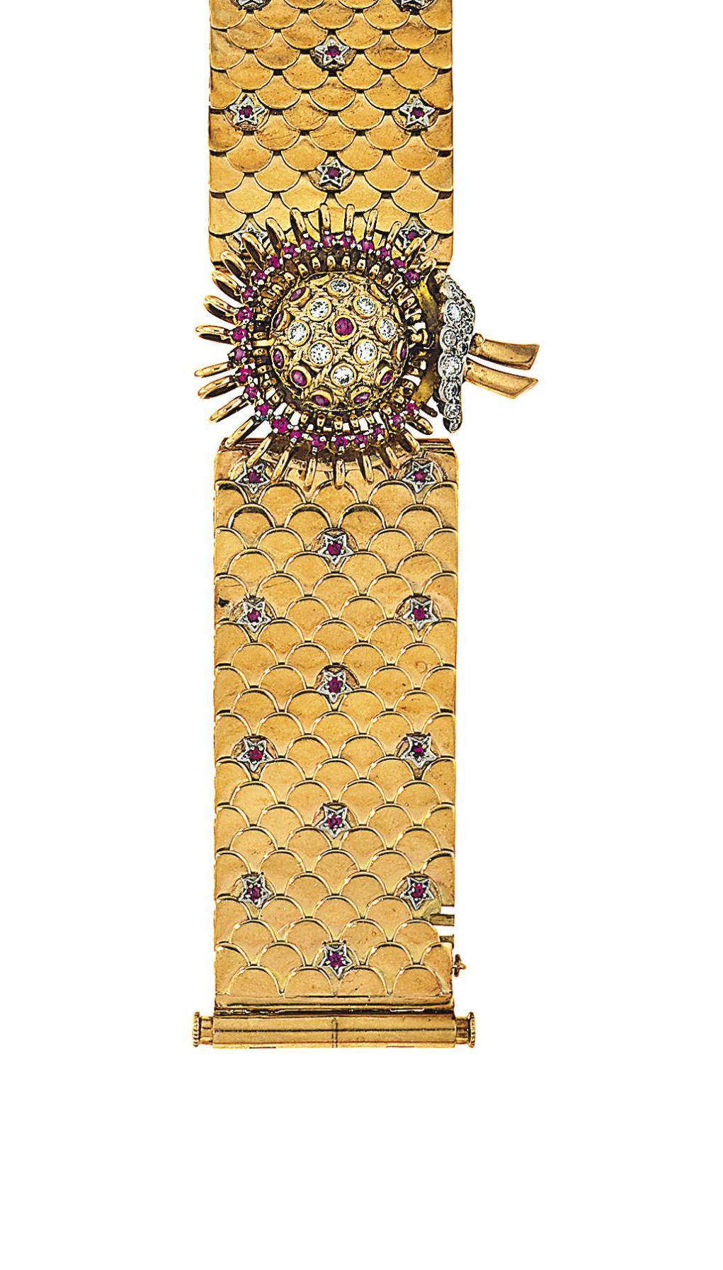 A ruby and diamond-set bracele