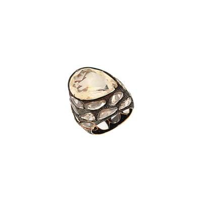 An opal and diamond dress ring