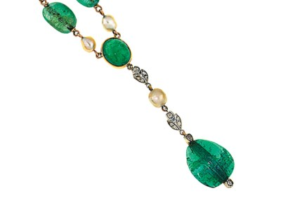 An emerald and natural pearl n