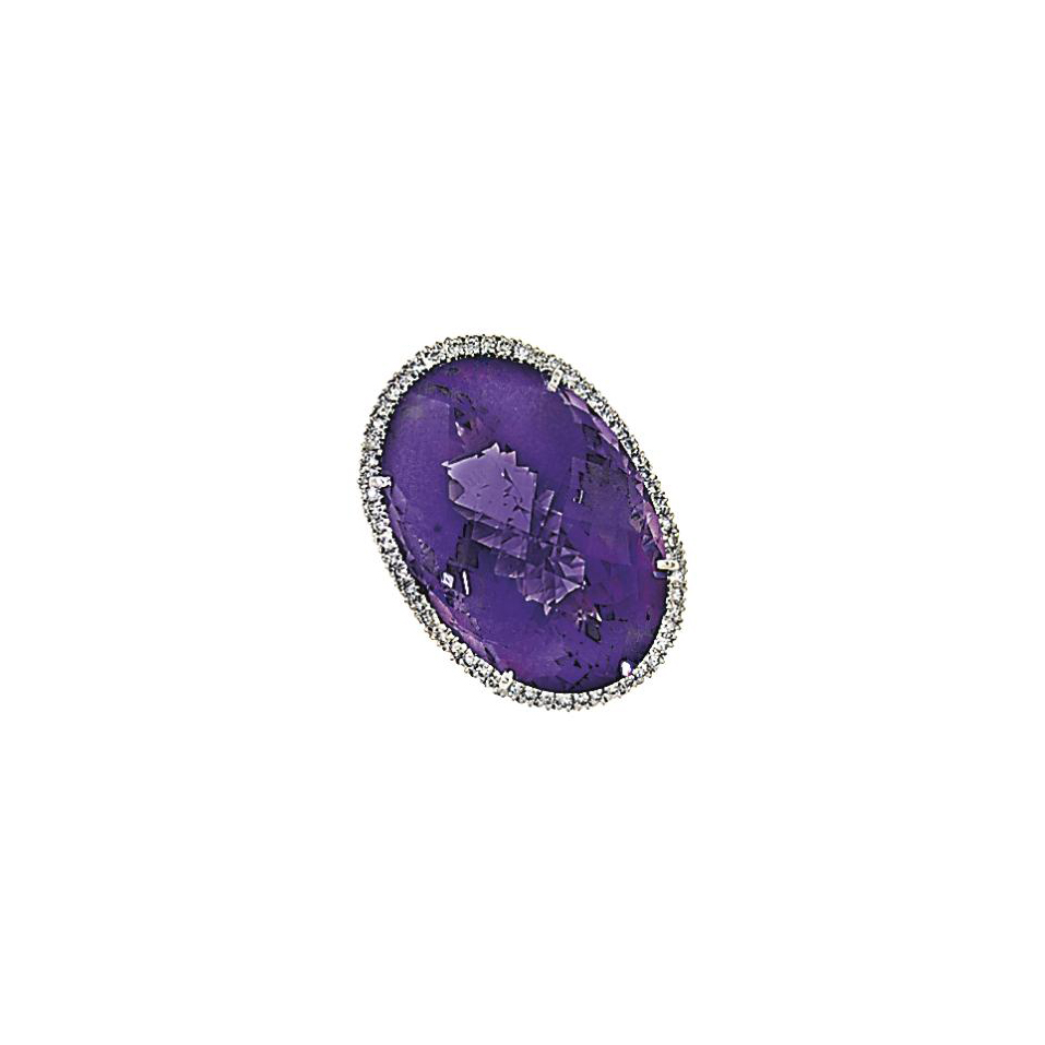 An 18ct white gold amethyst an