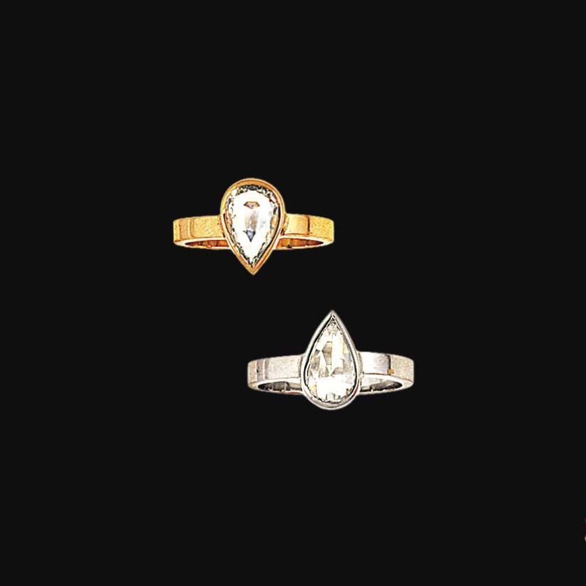 Two diamond single-stone rings