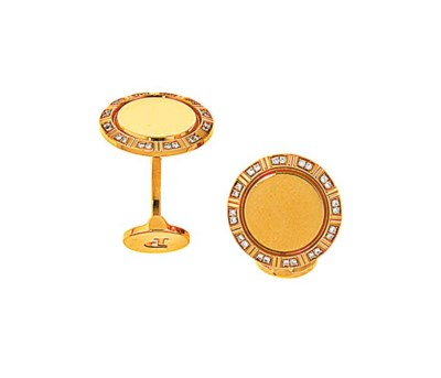 A pair of 18ct gold diamond-se