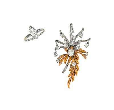 A diamond-set brooch and a dia