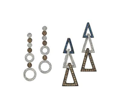 Three pairs of diamond-set ear