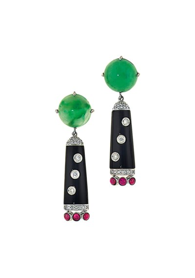 A pair of jade, ruby, onyx and