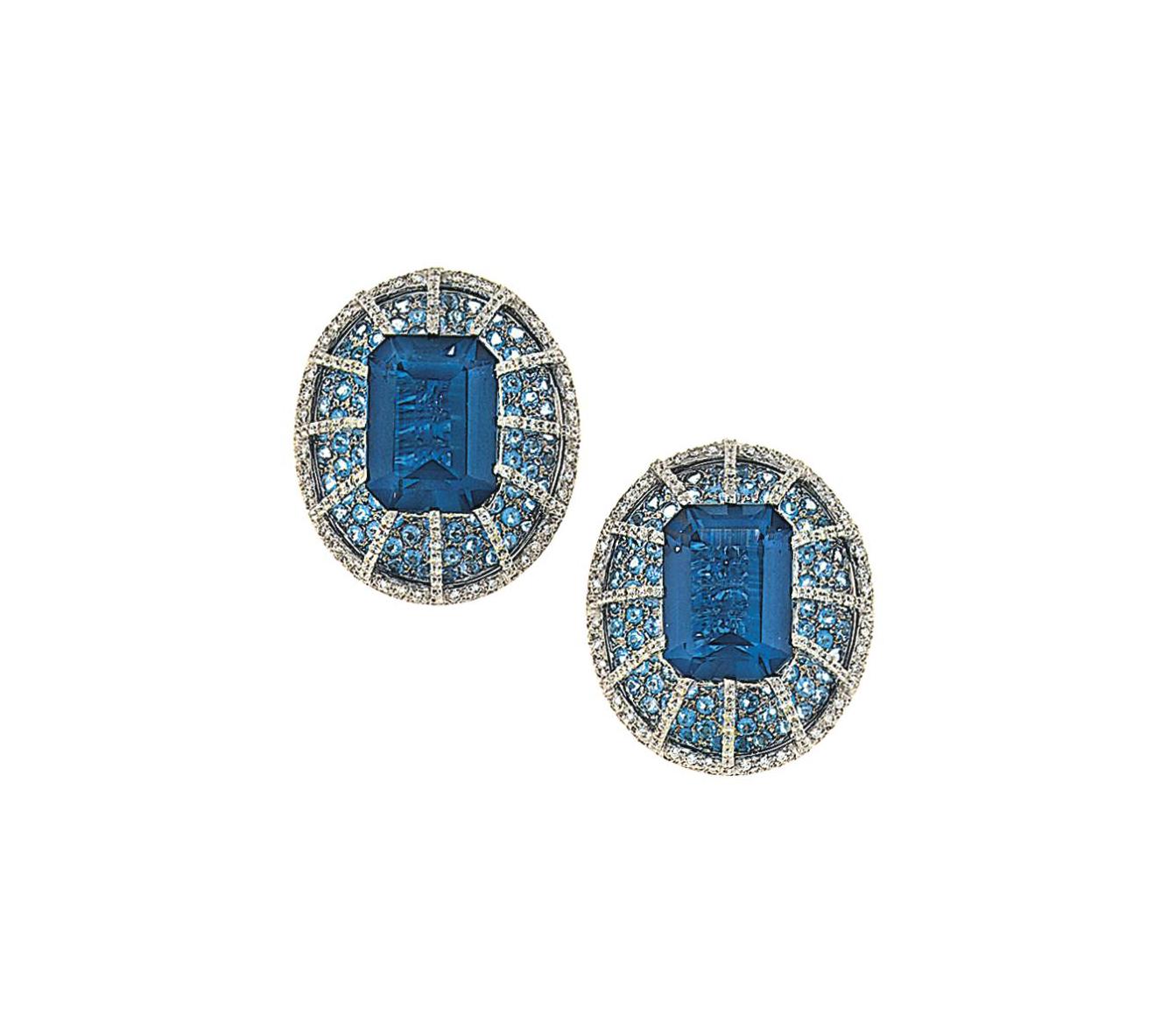 A pair of blue tourmaline, aqu