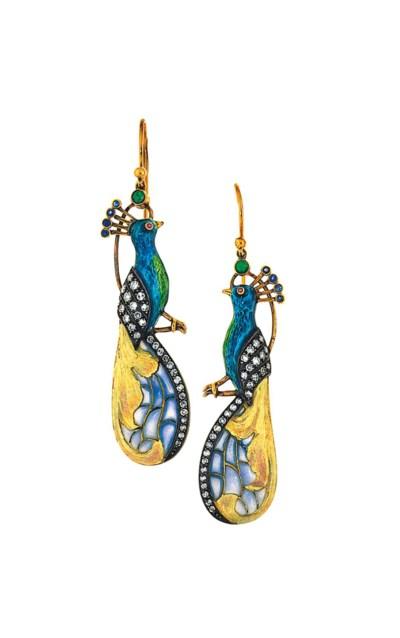 A pair of enamel and gem-set e
