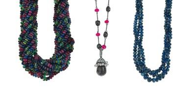 A group of four gem-set neckla