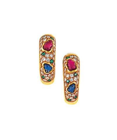 A pair of gem-set earhoops, by