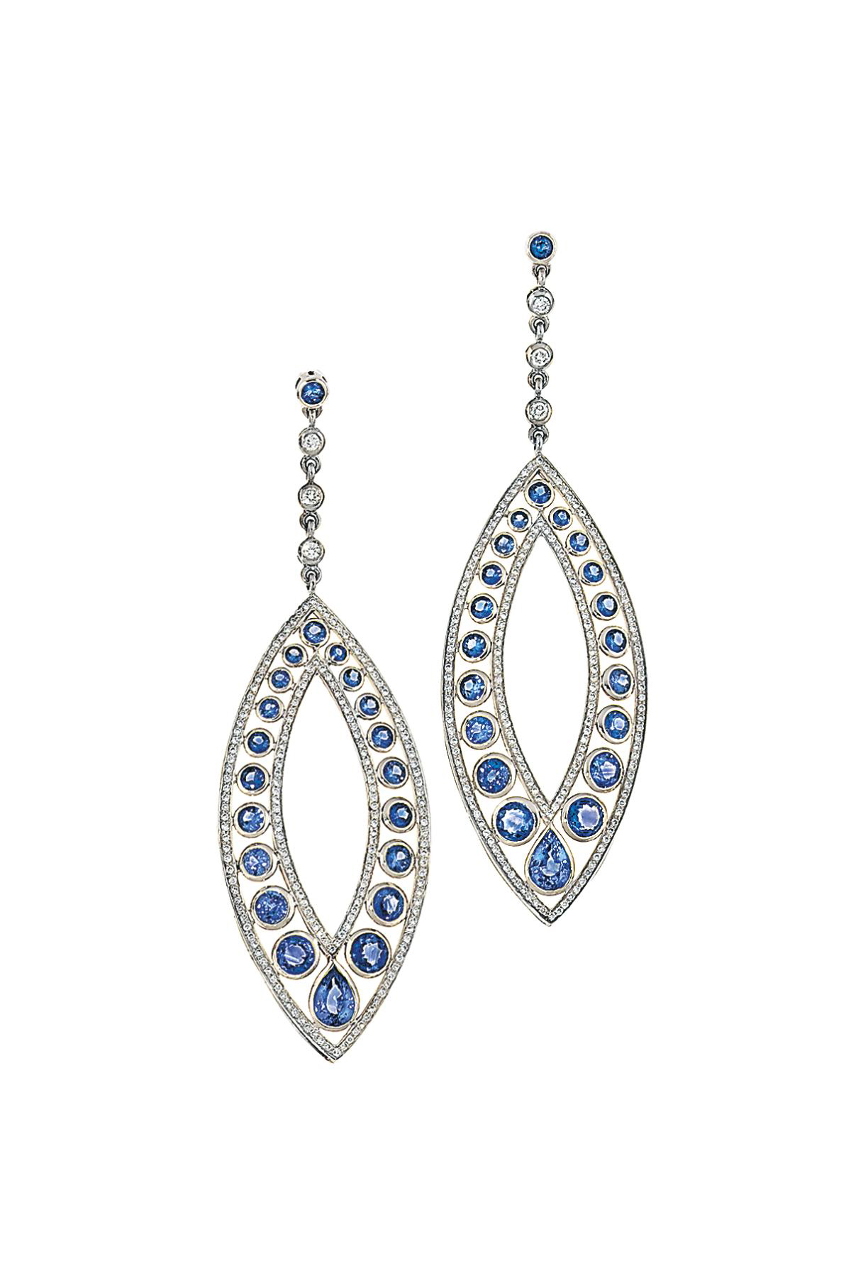 Three pairs of sapphire and di