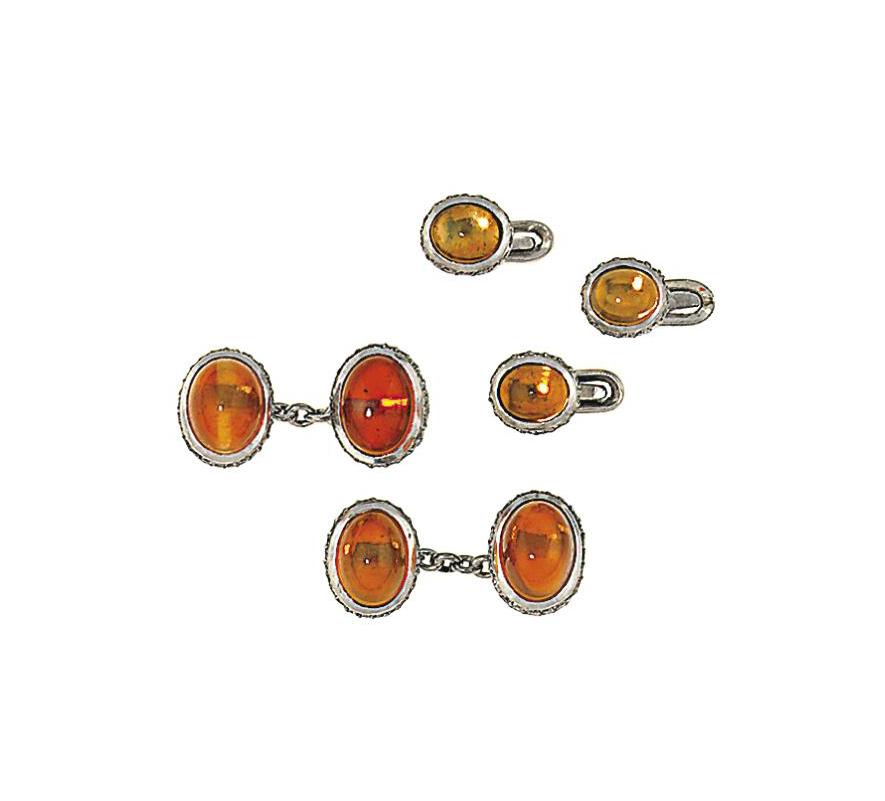 A pair of platinum, fire opal