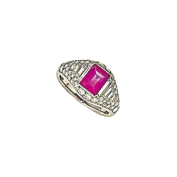 An Art Deco pink sapphire and
