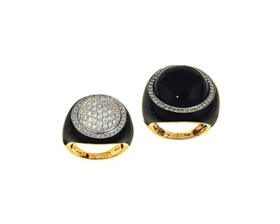 Two diamond-set dress rings