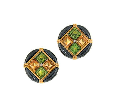 A pair of gem-set earrings, by