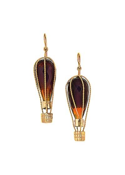 A pair of citrine earrings